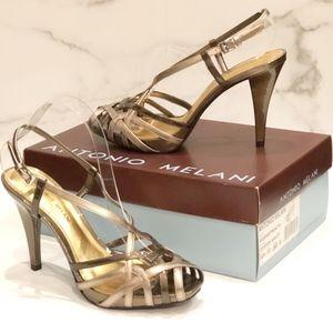 NWT Antonio Melani Bronze & Gold Strappy Sandals